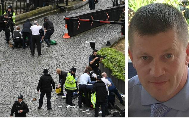 Met Police is 'passing the buck' over 'predictable' Westminster terror attack (left), inquest into victims including Pc Keith Palmer (right) hears - Stefan Rousseau/PA
