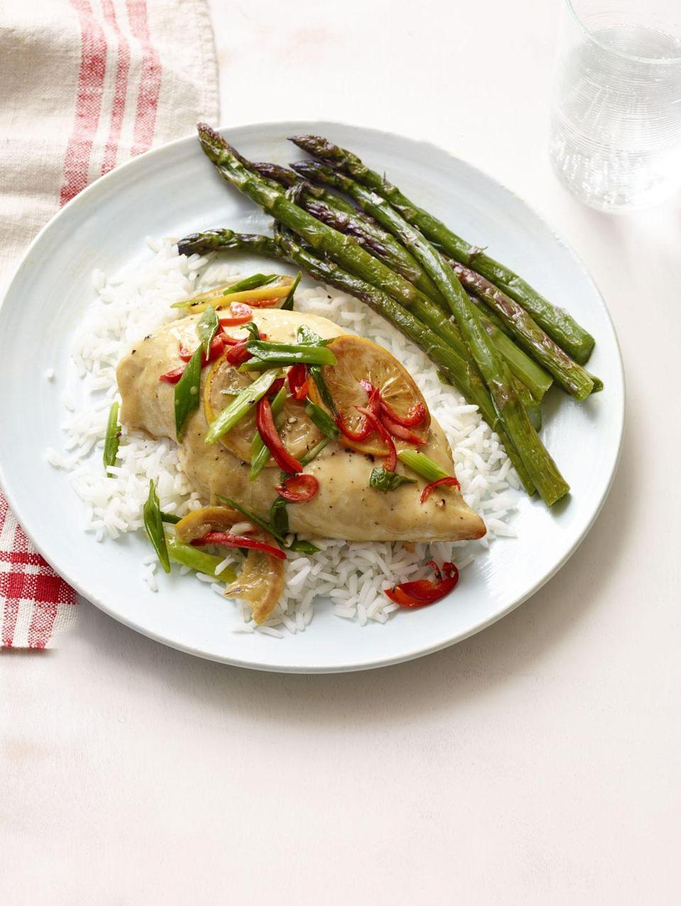 """<p>This quick, low-calorie meal is packed with tangy, lemon-infused heat, and is perfect for a fast weeknight dinner.</p><p><em><a href=""""https://www.womansday.com/food-recipes/food-drinks/recipes/a12173/lemon-chili-chicken-recipe-wdy0713/"""" rel=""""nofollow noopener"""" target=""""_blank"""" data-ylk=""""slk:Get the Lemon Chile Chicken recipe."""" class=""""link rapid-noclick-resp"""">Get the Lemon Chile Chicken recipe.</a></em><br></p>"""