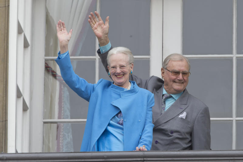 Queen Margrethe II of Denmark and Prince Henrik of Denmark attend Queen Margrethe's 76th Birthday Celebration at Amalienborg Palace on April 16, 2016 in Copenhagen, Denmark