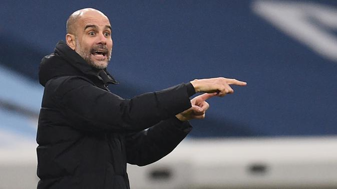 Manajer tim Manchester City, Pep Guardiola.  (AFP/Oli Scarff/Pool)