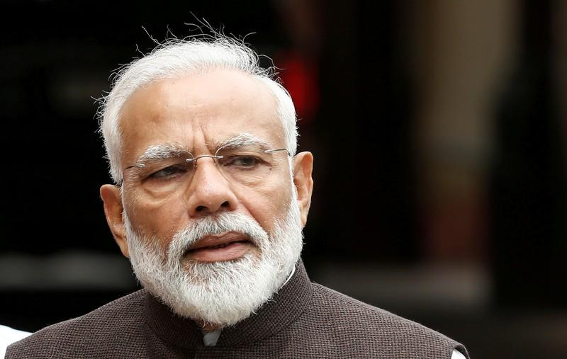 FILE PHOTO: PM Modi speaks with the media on the opening day of the parliament session in New Delhi