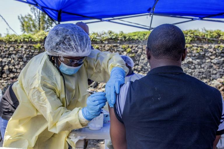A man receives an Ebola vaccine in Goma, Democratic Republic of Congo, on July 15