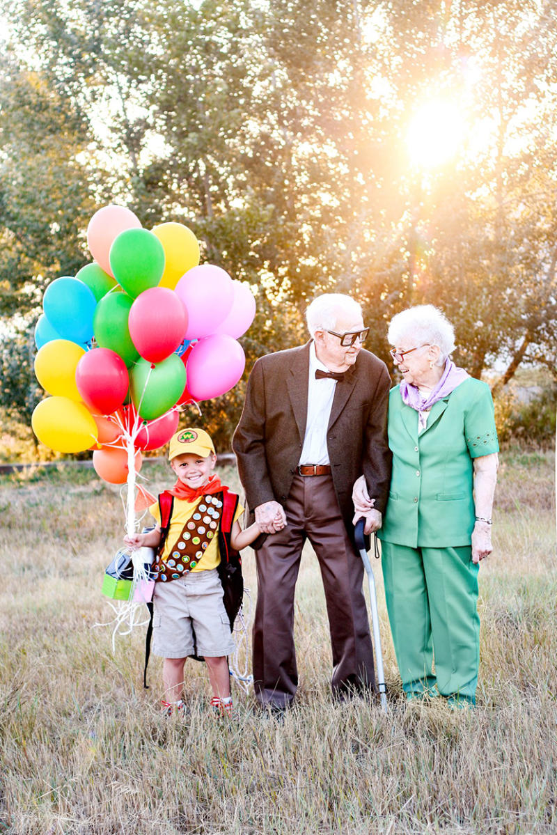 young boy with great grandparents dressed as UP characters
