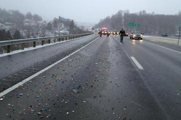 Legos on the asphalt (Eric McClain/North Central and Central WV Working Fires)