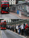 A combo of images shows people queuing for a bus at Victoria Station in London, on Thursday, Aug. 6, 2015 and an image taken from the same angle on Thursday, April 2, 2020. When Associated Press photographer Frank Augstein moved to London in 2015, what struck him most was the crowds. In years of covering political dramas, moments of celebration and tragedy and major sporting events, Augstein's photographs have captured the city's ceaseless movement. Augstein revisited in recent days many of sites he has photographed, after Britain — like other countries around the world — went into effective lockdown to stem the spread of the new coronavirus.(AP Photo/Frank Augstein)
