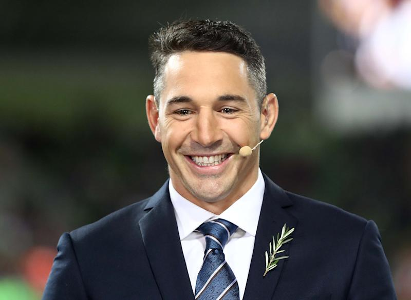 Billy Slater commentates during the round 7 NRL match between the Melbourne Storm and the New Zealand Warriors.
