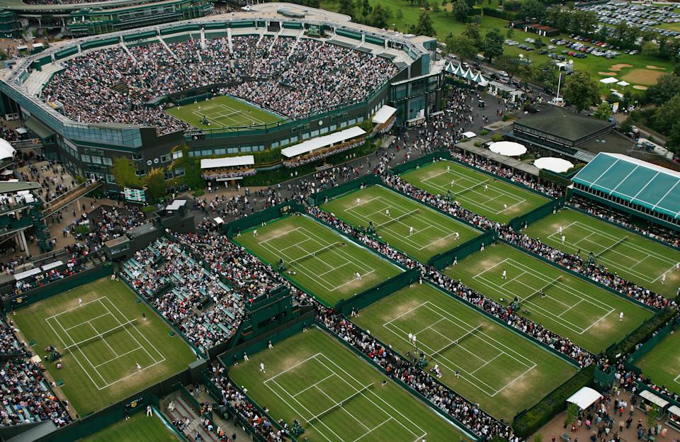 LONDON, LONDON - JUNE 28:  An aerial view a roofless Centre Court and the outside courts taken from the BBC elevated camera position during day four of the Wimbledon Lawn Tennis Championships at the All England Lawn Tennis and Croquet Club on June 28, 2007 in London, England.  (Photo by Glyn Kirk/AELTC/Pool/Getty Images)