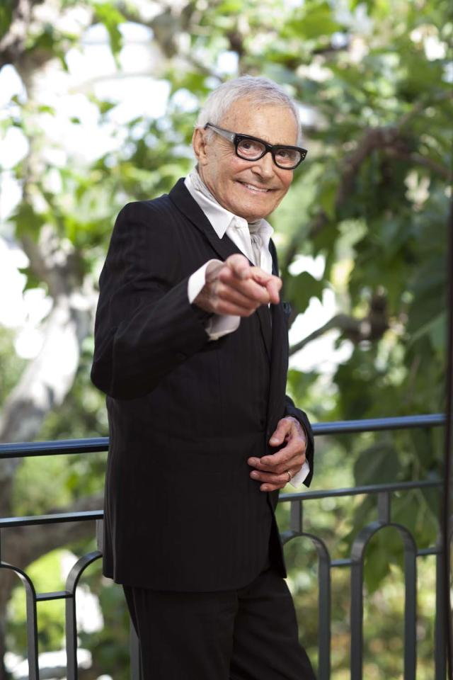 HOLLYWOOD, CA - APRIL 09:  (EXCLUSIVE COVERAGE) Hairdresser Vidal Sassoon poses during a portrait shoot on April 9, 2012 in Hollywood, California.  (Photo by Kaori Suzuki/UPLINK/Getty Images)