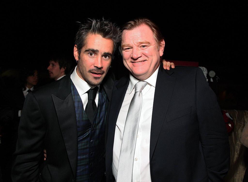 "Golden Globe winner Colin Farrell struck a pose with his fellow nominee and ""In Bruges"" costar Brendan Gleeson at the NBC/Universal/Focus Features bash. Eric Charbonneau/<a href=""http://www.wireimage.com"" target=""new"">WireImage.com</a> - January 11, 2009"