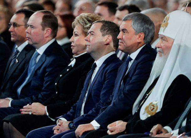 PHOTO: Russian Prime Minister Dmitry Medvedev, center, along with other officials, listens to Russian President Vladimir Putin's annual address to the Federal Assembly in Moscow, Russia, Jan. 15, 2020. (Sputnik/Pool via Reuters)