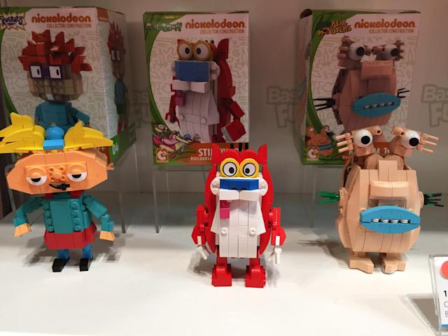 <p>Satisfy your inner '90s child with these throwback construction kits from Basic Fun based on classic Nickelodeon shows like <em>Hey Arnold!</em>, <em>Ren & Stimpy</em>, and <span><em>Aaahh!!! Real Monsters</em>. (Photo: Ethan Alter)</span> </p>