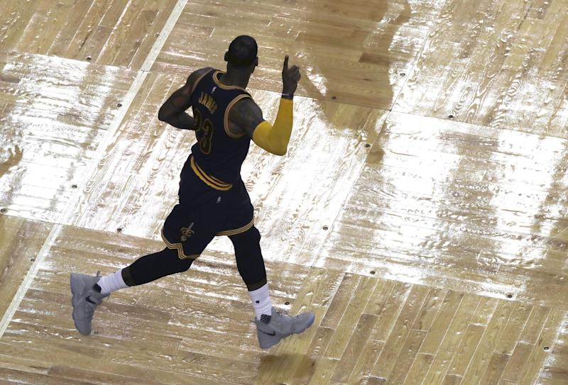 LeBron James moved into first on the NBA's all-time playoff scoring list. (AP)
