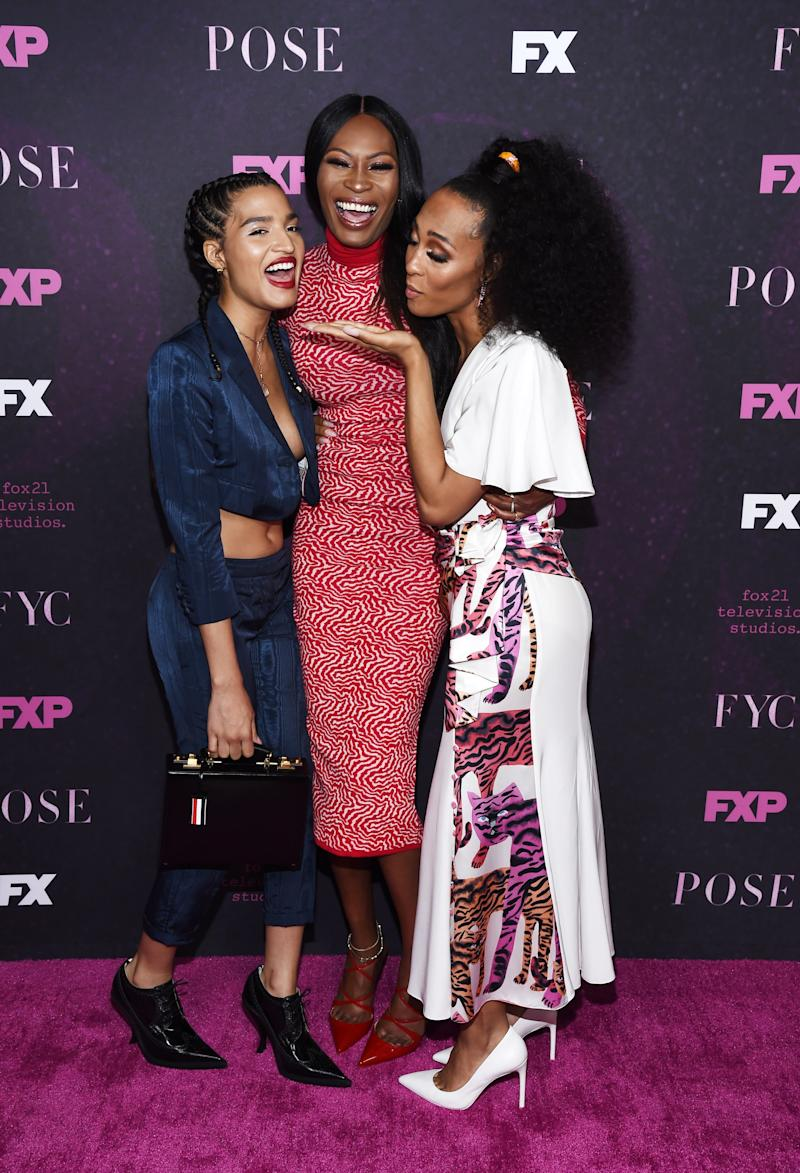 HOLLYWOOD, CALIFORNIA - JUNE 01: (L-R) Indya Moore, Dominique Jackson and Mj Rodriguez attend the FYC Event for FX'x