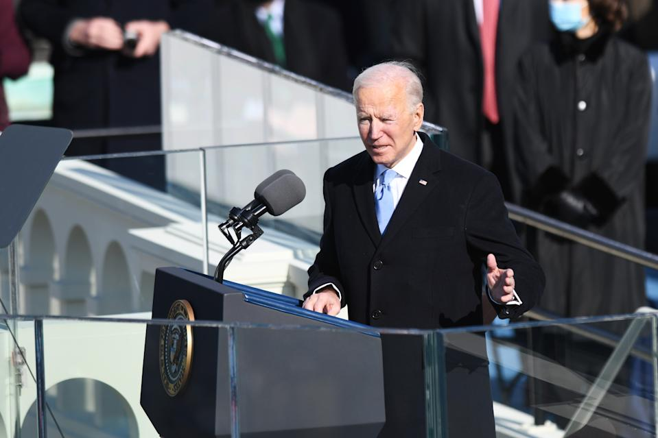WASHINGTON, Jan. 20, 2021 -- U.S. President Joe Biden delivers his inaugural address after he was sworn in as the 46th President of the United States in Washington, D.C., the United States, on Jan. 20, 2021. At an unusual inauguration closed to public due to the still raging coronavirus pandemic, U.S. President-elect Joe Biden was sworn in as the 46th President of the United States on Wednesday at the West Front of the Capitol, which was breached two weeks ago by violent protesters trying to overturn his election victory. (Photo by Liu Jie/Xinhua via Getty) (Xinhua/Liu Jie via Getty Images)
