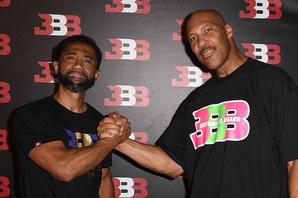 Alan Foster, left, and LaVar Ball at LaMelo Ball's birthday party in 2017. (Getty)