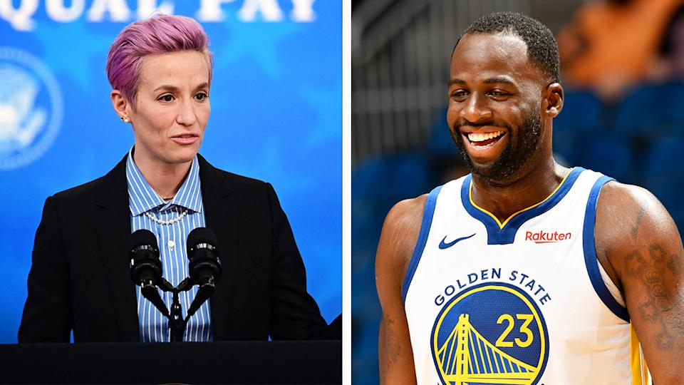 Megan Rapinoe (pictured left) speaking at the White House and Draymond Green (pictured right) smiling during an NBA game.