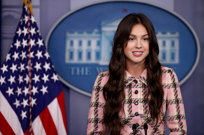 Olivia Rodrigo speaks at the White House. Rodrigo is partnering with the Biden administration to promote COVID-19 vaccination to her fans. (Chip Somodevilla/Getty Images)