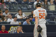 Baltimore Orioles pitcher Alexander Wells leaves the field after being removed during the third inning of the team's baseball game against the New York Yankees, Tuesday, Aug. 3, 2021, in New York. (AP Photo/Mary Altaffer)