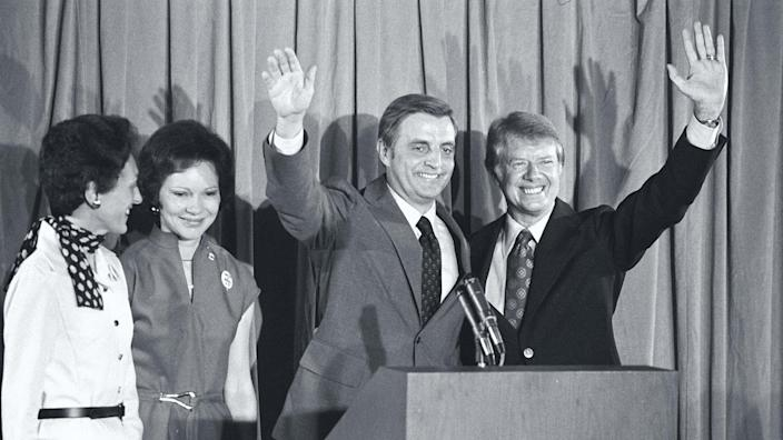 Image: Candidates Jimmy Carter and Walter Mondale stand with their wives at a 1976 Democratic Convention press conference. (Owen Franken / Corbis via Getty Images file)