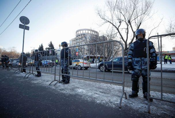 PHOTO: Law enforcement officers stand guard near a court building before the trial of Russian opposition leader Alexei Navalny, who is accused of flouting the terms of a suspended sentence for embezzlement, in Moscow, Russia February 2, 2021.  (Maxim Shemetov/Reuters)