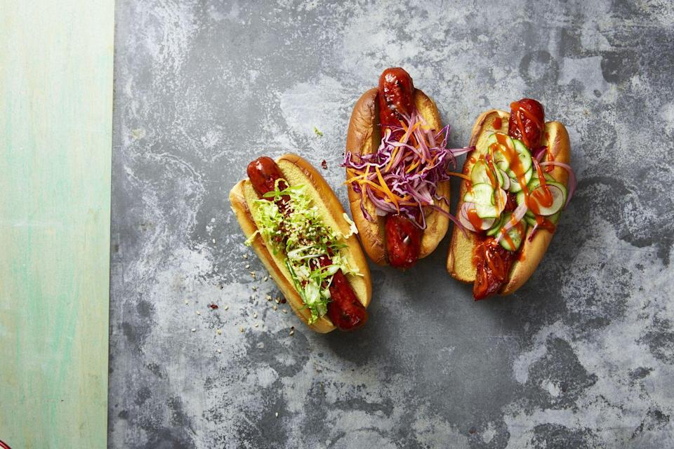 """<p>Summer wouldn't be complete without hotdogs, but this year, we encourage you to remix your toppings in unexpected ways. You can thank us after trying one of these duos: napa cabbage with scallions; purple cabbage and carrots; cucumbers and radishes. </p><p><strong>RELATED:</strong> <a href=""""https://www.goodhousekeeping.com/food-recipes/g863/hot-dog-recipes/"""" rel=""""nofollow noopener"""" target=""""_blank"""" data-ylk=""""slk:Delicious Hot Dog Recipes to Make"""" class=""""link rapid-noclick-resp"""">Delicious Hot Dog Recipes to Make </a></p>"""