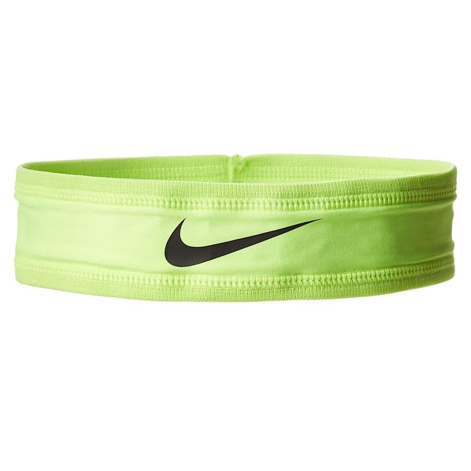 """<p><strong>Nike</strong></p><p>amazon.com</p><p><strong>$19.95</strong></p><p><a href=""""https://www.amazon.com/dp/B00B4EK05Q?tag=syn-yahoo-20&ascsubtag=%5Bartid%7C2142.g.36113102%5Bsrc%7Cyahoo-us"""" rel=""""nofollow noopener"""" target=""""_blank"""" data-ylk=""""slk:Shop Now"""" class=""""link rapid-noclick-resp"""">Shop Now</a></p><p>For hair long or short, a headband is vital for that morning routine. This Nike Dri-fit headband will keep your hair out of your face so you can stay focused on the finish line.</p><p><em>[<a href=""""https://www.runnersworld.com/gear/g20857690/running-headbands-that-never-slip-off/"""" rel=""""nofollow noopener"""" target=""""_blank"""" data-ylk=""""slk:11 Headbands to Tame Your Hair"""" class=""""link rapid-noclick-resp"""">11 Headbands to Tame Your Hair</a>]</em></p>"""