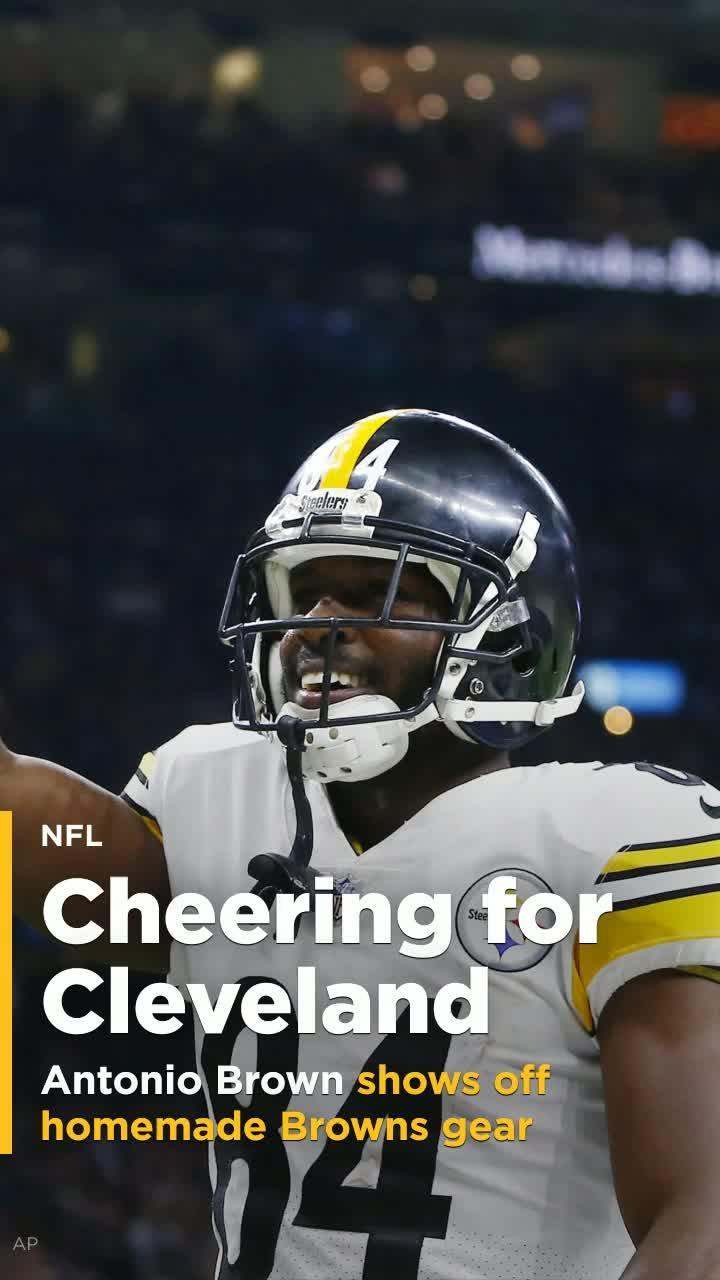aa484fa0b7c Steelers WR Antonio Brown has his homemade Browns jerseys ready  Video