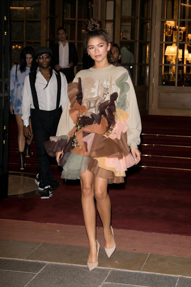 """<p>What do you get when you add some multi-colored ruffles to a casual sweater? You get this high fashion sweater dress. It looks so good, Zendaya didn't even have to do her hair to look cool and sleek in it. """"Side note...I did not do my hair at all<span>,"""" <a rel=""""nofollow"""" href=""""https://www.instagram.com/p/BWJkOzmhet-"""">Zendaya wrote on Instagram.</a></span></p>"""