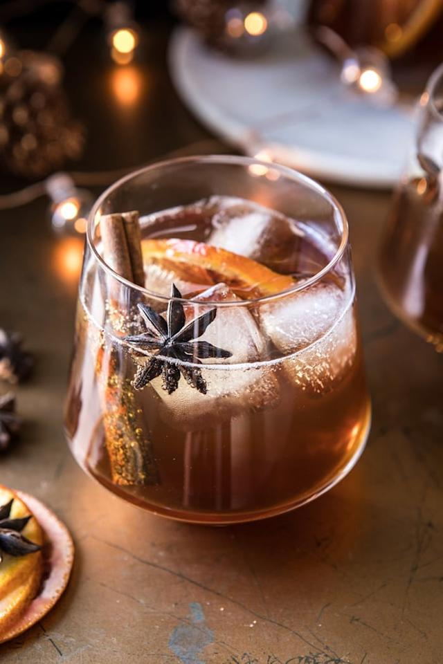 "<p>Perfect for a chilly night in, this cozy cocktail is made with homemade spiced chai simple syrup, warm bourbon, and a touch of vanilla. Add fresh citrus fruit slices to garnish.</p> <p><strong>Get the recipe</strong>: <a href=""https://www.halfbakedharvest.com/vanilla-chai-old-fashioned/"" target=""_blank"" class=""ga-track"" data-ga-category=""internal click"" data-ga-label=""https://www.halfbakedharvest.com/vanilla-chai-old-fashioned/"" data-ga-action=""body text link"">vanilla chai old fashioned</a></p>"
