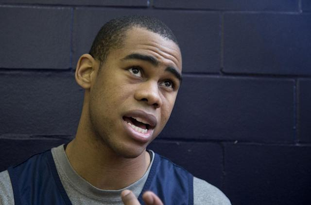 Georgetown guard Markel Starks, speaks to reporters during Georgetown's preseason media availability in Georgetown's McDonough Arena in Washington, Tuesday, Oct. 22, 2013. (AP Photo/Manuel Balce Ceneta)
