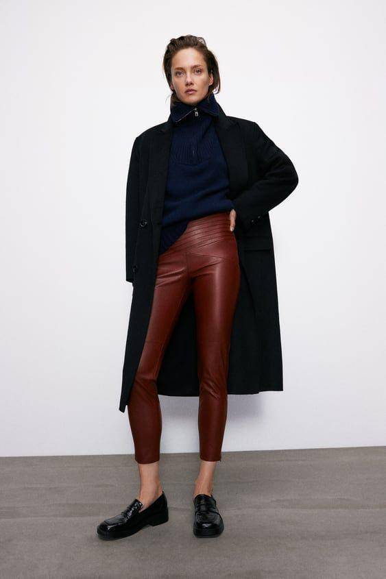 """<p><strong>Zara</strong></p><p>zara.com</p><p><strong>$39.90</strong></p><p><a href=""""https://go.redirectingat.com?id=74968X1596630&url=https%3A%2F%2Fwww.zara.com%2Fus%2Fen%2Ffaux-leather-leggings-p08372260.html&sref=https%3A%2F%2Fwww.marieclaire.com%2Ffashion%2Fg34437532%2Fbest-leather-leggings%2F"""" rel=""""nofollow noopener"""" target=""""_blank"""" data-ylk=""""slk:SHOP IT"""" class=""""link rapid-noclick-resp"""">SHOP IT</a></p><p>This pair of leggings can almost double as leather pants because of the adjustable strap at the waist (think of it as a belt) and the front/back striping design. If you were to go into the office now, these would totally pass as real pants.<br></p>"""