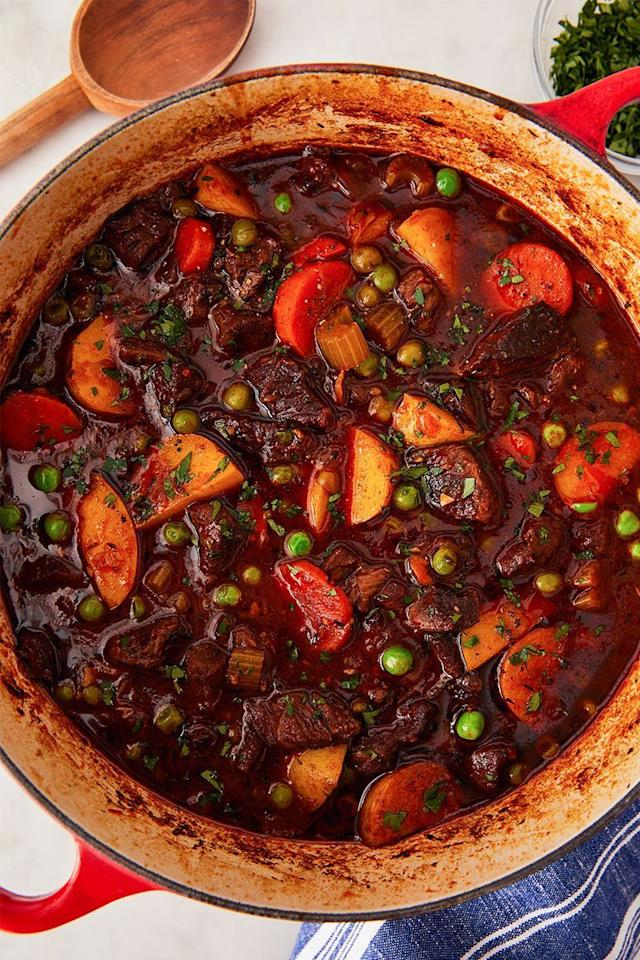 "<p>This recipe makes amazing leftovers. And yes, you can make it ahead! Cook all the way through step 6, then cool the stew to room temperature before refrigerating in a resealable container. Before serving, reheat in a large pot over medium-low heat.</p><p>Get the <a href=""https://www.delish.com/uk/cooking/recipes/a31127970/easy-beef-stew-recipe/"" target=""_blank"">Beef Stew</a> recipe.</p>"