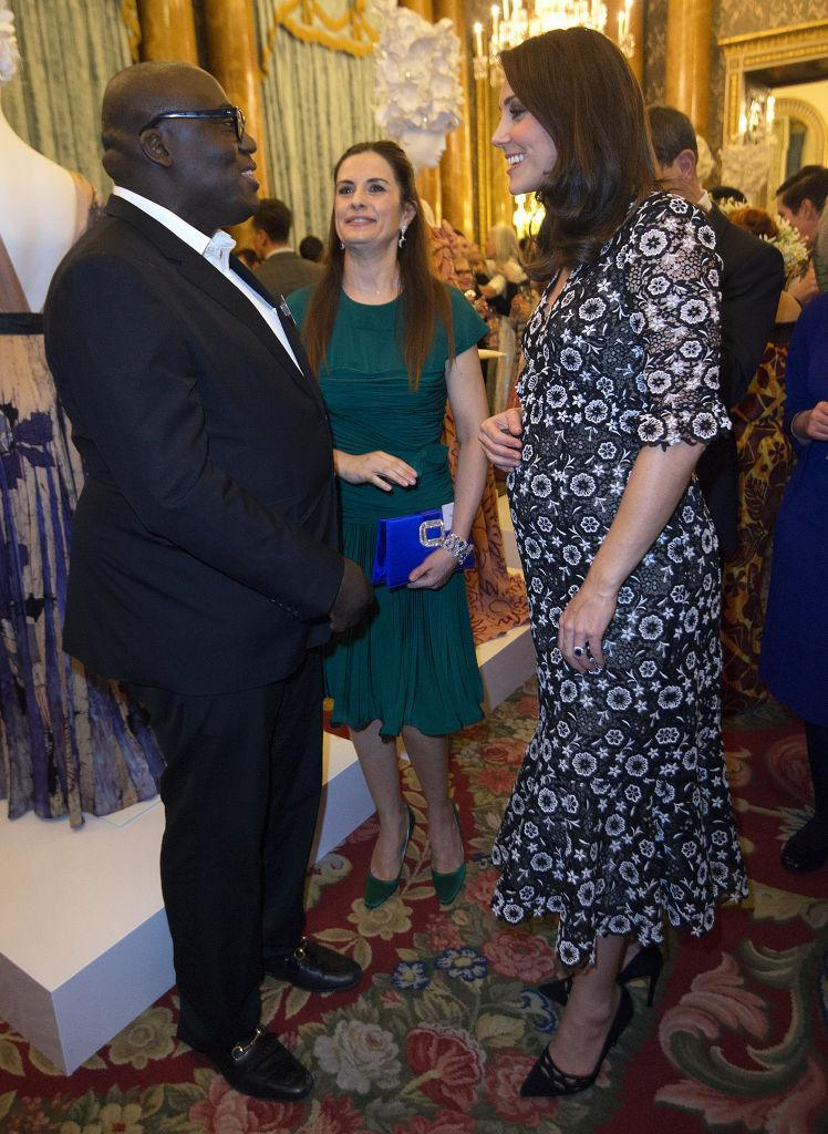 The Duchess of Cambridge greeted editor-in-chief of British Vogue, Edward Enninful and Eco-Age founder, Livia Firth [Photo: Getty]