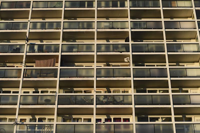 Empty balconies on Brixton's Loughborough estate during Thursday's nationwide Clap for Carers. (Photo: PA)