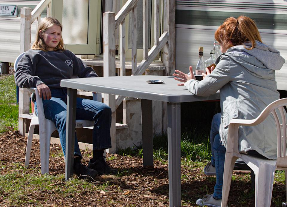 FROM ITV  STRICT EMBARGO  Print media - No Use Before Tuesday 18th May 2021 Online Media - No Use Before 0700hrs Tuesday 18th May  2021  Emmerdale - Ep 9055  Monday 24th May 2021  Liv Flaherty [ISOBEL STEELE] finally finds her mum at the caravan park and she's appalled to discover Sandra Flaherty's [JOANNE MITCHELL] been back in the UK for a few months without bothering to make contact with her. Liv struggles to get her mum to pay any attention to her troubles but when Sandra produces some booze, Liv's tempted to drown her sorrows anew.   Picture contact David.crook@itv.com   This photograph is (C) ITV Plc and can only be reproduced for editorial purposes directly in connection with the programme or event mentioned above, or ITV plc. Once made available by ITV plc Picture Desk, this photograph can be reproduced once only up until the transmission [TX] date and no reproduction fee will be charged. Any subsequent usage may incur a fee. This photograph must not be manipulated [excluding basic cropping] in a manner which alters the visual appearance of the person photographed deemed detrimental or inappropriate by ITV plc Picture Desk. This photograph must not be syndicated to any other company, publication or website, or permanently archived, without the express written permission of ITV Picture Desk. Full Terms and conditions are available on  www.itv.com/presscentre/itvpictures/terms