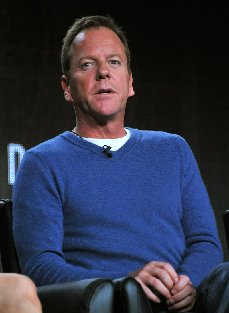 "Kiefer Sutherland speaks during the panel for ""24: Live Another Day"" at the FOX Winter 2014 TCA, on Monday, Jan. 13, 2014, at the Langham Hotel in Pasadena, Calif. (Photo by Richard Shotwell/Invision/AP)"