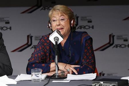 Chilean presidential candidate Michelle Bachelet of Nueva Mayoria during live radio debate in Santiago