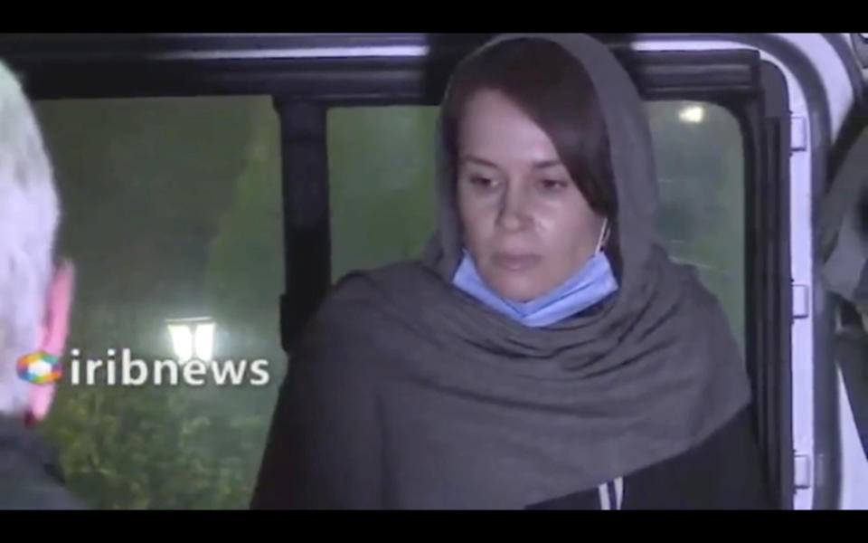 In this frame grab from Iranian state television video aired Wednesday, Nov. 25, 2020, British-Australian academic Kylie Moore-Gilbert, is seen in Tehran, Iran. Iran has freed Moore-Gilbert, who has been detained in Iran for more than two years, in exchange for three Iranians held abroad, state TV reported Wednesday. (Iranian State Television via AP)