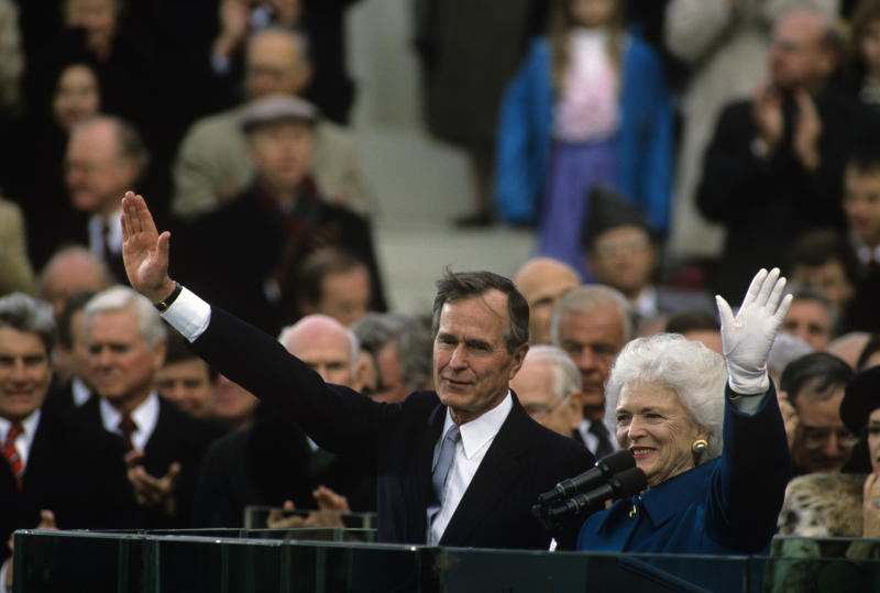 George H. W. Bush and Barbara Bush, at his presidential inauguration in 1989.