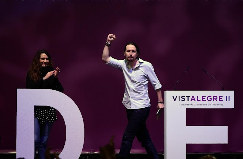 Leader of Spain's left-wing Podemos party, Pablo Iglesias, put his leadership on the line on the second day of a party congress in Madrid (AFP Photo/Pierre-Philippe MARCOU)
