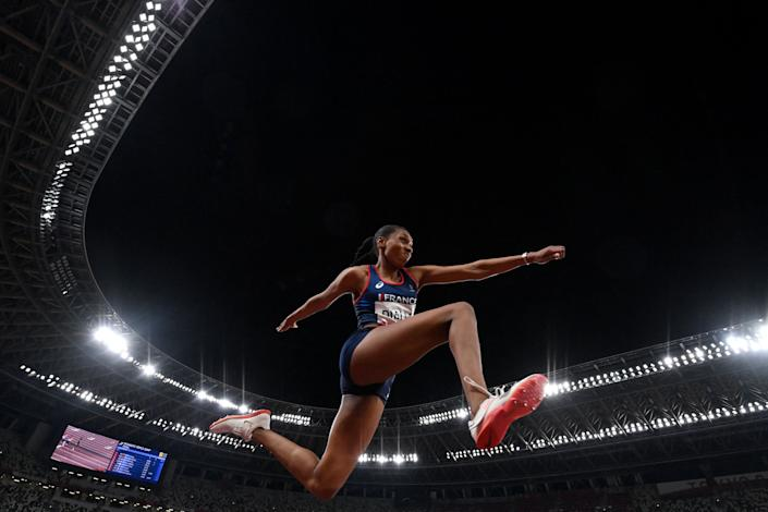 <p>France's Rouguy Diallo competes in the women's triple jump final during the Tokyo 2020 Olympic Games at the Olympic Stadium in Tokyo on August 1, 2021. (Photo by Andrej ISAKOVIC / AFP) (Photo by ANDREJ ISAKOVIC/AFP via Getty Images)</p>