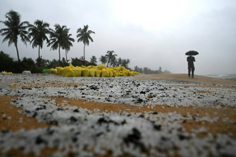 Tonnes of microplastic granules from the ship have swamped an 80-kilometre (50-mile) stretch of beach in Sri Lanka