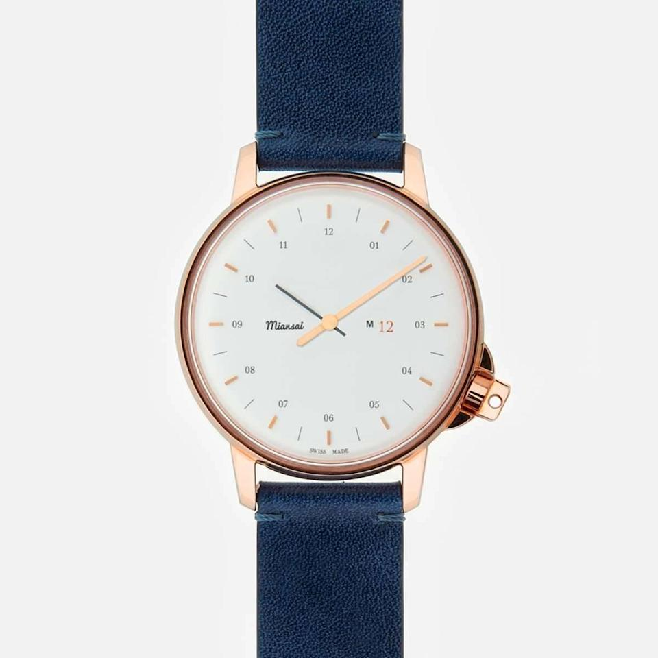"<p>For the classic girl who shuns an iWatch, try this classic, clean face with a rose gold bezel and navy leather strap. <a href=""http://www.miansai.com/shop/watches/m12-rose-white-on-leather-two-piece-leather-strap-navy-blue"" rel=""nofollow noopener"" target=""_blank"" data-ylk=""slk:Miansai M12 Watch"" class=""link rapid-noclick-resp"">Miansai M12 Watch</a> ($495)</p>"