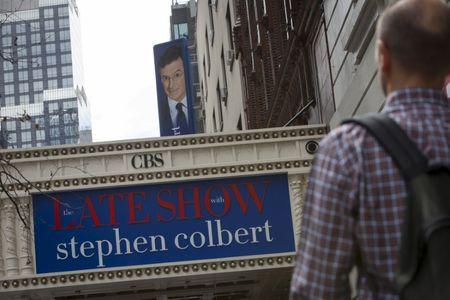 """The marquee for """"The Late Show with Stephen Colbert"""" is seen on the Ed Sullivan Theater in Manhattan, New York, August 21, 2015. Colbert is set to host the show, which was previously presented by David Letterman. REUTERS/Andrew Kelly"""
