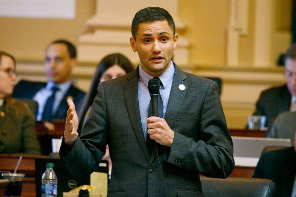 PHOTO: Del. Sam Rasoul gestures during debate on the renewable energy bill on the floor of the House at the Capitol, March 5 , 2020, in Richmond, Va. (Steve Helber/AP, FILE)