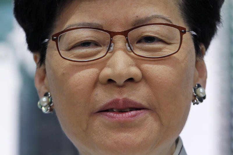 Hong Kong's Chief Executive Carrie Lam speaks at a press conference, Saturday, June 15, 2019, in Hong Kong. Lam said she will suspend a proposed extradition bill indefinitely in response to widespread public unhappiness over the measure, which would enable authorities to send some suspects to stand trial in mainland courts. (AP Photo/Kin Cheung)