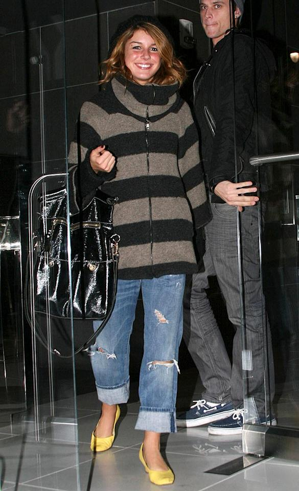 "If ""90210's"" Shenae Grimes gets too warm in her bulky sweater, she's got her tattered jeans to cool her down. <a href=""http://www.infdaily.com"" target=""new"">INFDaily.com</a> - February 5, 2009"