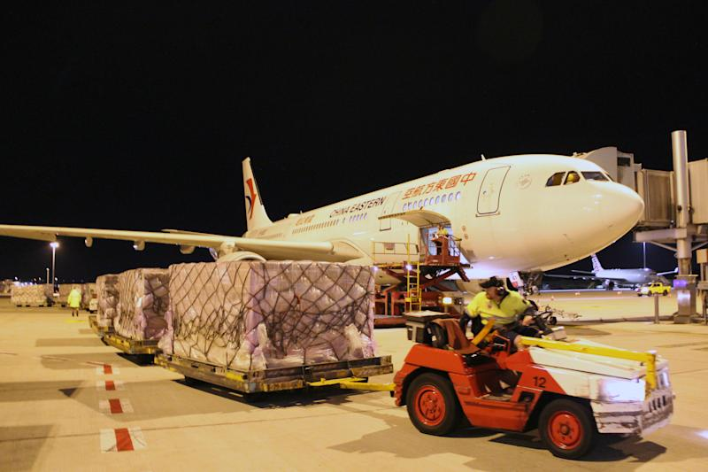Supplies Mr Forrest has managed to acquire arriving in Perth. Source: AAP
