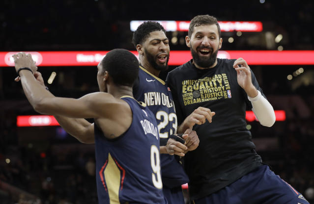 "<a class=""link rapid-noclick-resp"" href=""/nba/players/4905/"" data-ylk=""slk:Nikola Mirotic"">Nikola Mirotic</a> (right) has acclimated himself well with <a class=""link rapid-noclick-resp"" href=""/nba/players/5007/"" data-ylk=""slk:Anthony Davis"">Anthony Davis</a> and the Pelicans. (AP)"