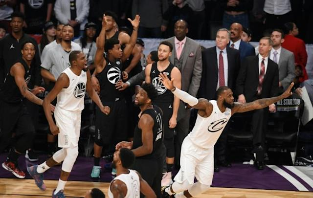 Kevin Durant (L) and LeBron James (R) of Team LeBron celebrate their 148-145 win over Team Stephen in the NBA All-Star Game